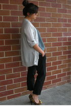 silver sweater - black rag & bone shirt - Theory pants - orange Michael Kors sho