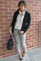 black Club Monaco cardigan - black Jessica Simpson shoes - silver J Brand jeans