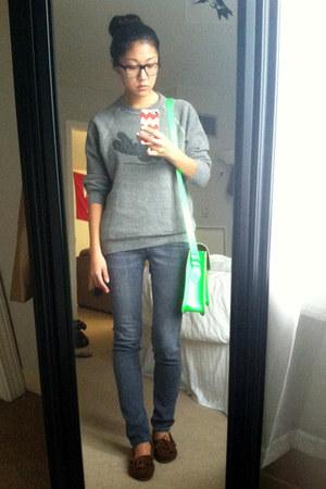 dark brown Minnetonka shoes - blue denim Adriano Goldschmeid jeans