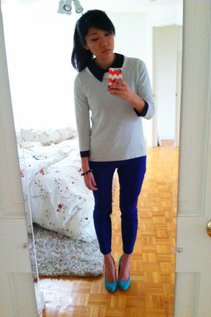 navy Marc Jacobs blouse - white JCrew sweater - blue JCrew pants