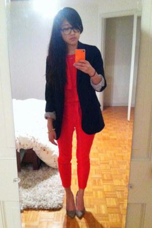 red Parker blouse - black JCrew blazer - red JCrew pants