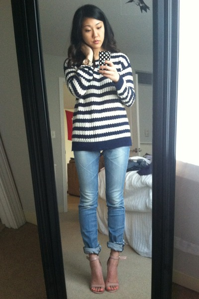 navy madewell sweater - neutral Steve Madden shoes