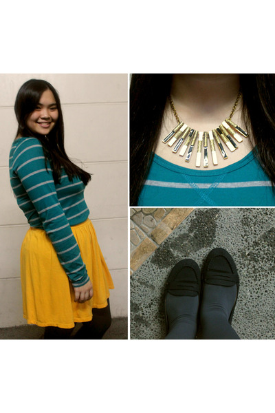 mustard Zara skirt - teal striped Forever 21 sweater - black loafers