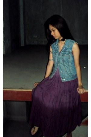purple dress - light blue denim Gap vest - black beaded Nine West sandals