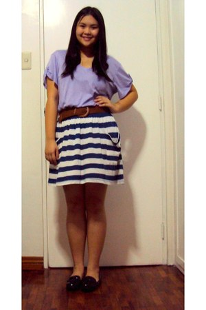 light purple Forever 21 shirt - black loafers - navy striped Forever 21 skirt -