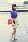 Neutral-shoes-ruby-red-bag-light-yellow-zara-skirt-blue-forever-21-top