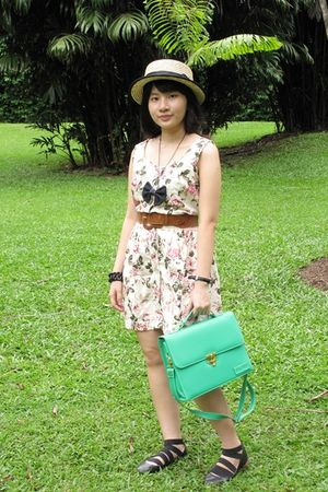 beige love and bravery dress - green BagAge accessories - beige hat - blue diy n