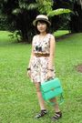 Beige-love-and-bravery-dress-green-bagage-accessories-beige-hat-blue-diy-n