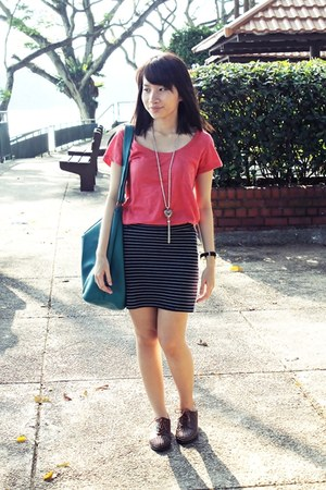 brown Modparade shoes - teal bag - black bandage Forever 21 skirt - coral Mango