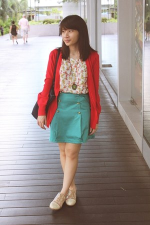 turquoise blue The Stage Walk skirt - neutral floral print Zara top