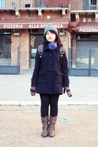 navy Uniqlo coat - heather gray Forever21 hat - blue Uniqlo scarf
