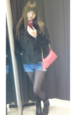 black DURAS jacket - blue SEXY 109 shorts - black leggings - black boots - pink