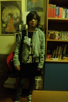 Pull and Bear jacket - t-shirt - poa jeans - shoes - Mizuno accessories