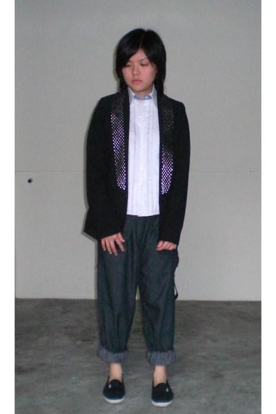 blazer - trioon blouse - WoodWood pants - shoes