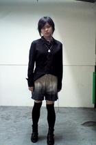 black g2000 shirt - brown shorts - black GoJane boots - white Etsy accessories -