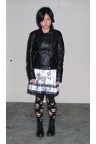 black Pinkie jacket - white customised skirt - black from japan socks - black do