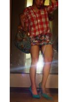 TRF blouse - Rustans U shoes - Rustans U skirt - LV purse
