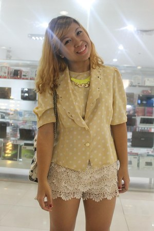 cream lace department shorts - blue from mom bag - bought online neon necklace