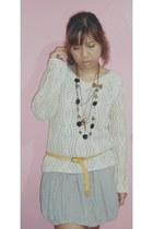 RANDOM crochet sweatshirt - random dress - bazaar multi-layered necklace