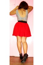 red random skirt - black altered backless worn as a top dress