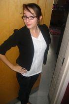 black Forever 21 blazer - white Forever 21 shirt - black Pac Sun jeans