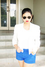 White-blazer-topshop-jacket-aviators-ray-ban-sunglasses