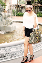 Nine West heels - vintage scarf - python Pradaa bag - arty ring YSL ring