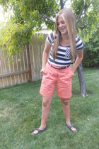 salmon thrifted shorts - navy Valshi top - black Rue 21 belt