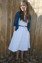 white homemade dress - bronze Forever young shoes - navy Forever 21 cardigan