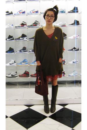 from Korea sweater - Bottega Veneta boots - H&M dress - Prada purse