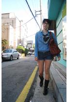 Topshop shirt - Comme des Garcons t-shirt - Siwy shorts - vintage boots - balenc