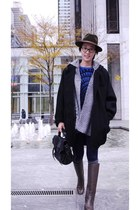 H&M coat - thrifted sweater - Forever 21 leggings - Bottega Veneta boots - proen