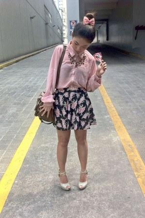 pink top - floral skater skirt