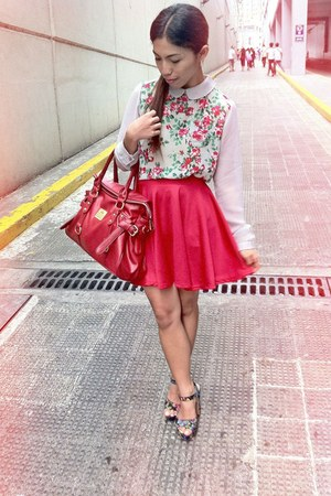 red bag - red skater skirt - top - floral heels