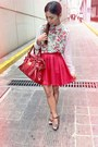 Red-bag-top-red-skater-skirt-floral-heels