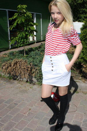 red blouse - white Zara skirt - black lindex stockings