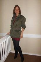 French F2 Combat Jacket jacket - coach boots - H&M dress