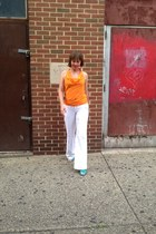 orange silk Trina Turk blouse - white linen banana republic pants