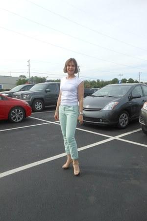 white American Apparel t-shirt - silver Tiffany bracelet - aquamarine H&M pants