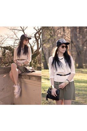 H&M dress - new era hat - Stradivarius blouse - Converse sneakers