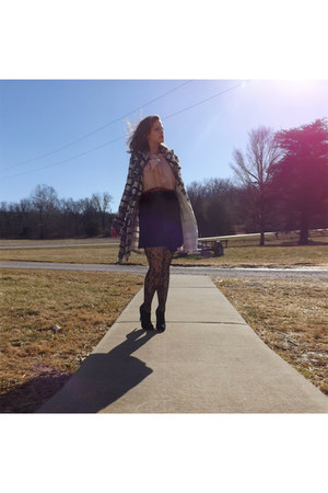 Rue 21 top - Rue 21 coat - thrifted skirt - thrifted vintage heels