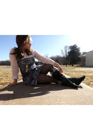black lace trim DIY boots - navy American Eagle dress - ivory H&M blouse