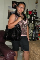 Forever21 shirt - Edge Clothing top - The Limited shorts - Nine West purse - San