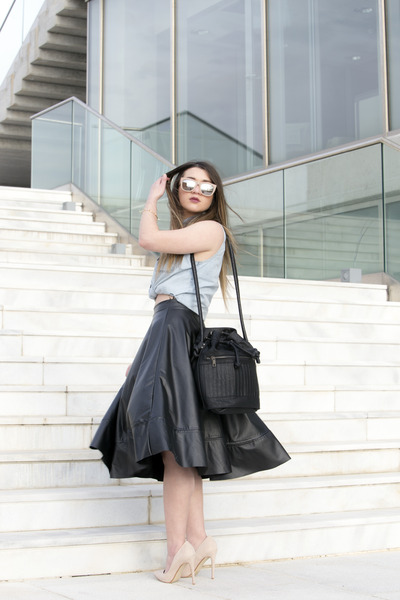 denim pink woman shirt - black leather pink woman bag - H&M sunglasses