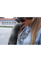 Zara boots - faux fur H&M coat - leather Zara shorts - round Zara sunglasses