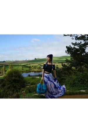 blue blue white Black Milk skirt - black cape cloak BlackMilk coat