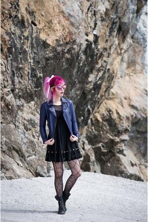 navy blue navy Lacarmina dress - dark gray fish net fishnet tights tights