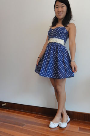 blue H&M dress - beige Yves Saint Laurent belt - white Gap shoes