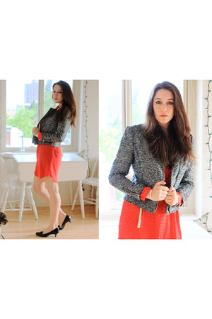 H&M blazer - red chevron Gap dress - H&M belt - loafer Bandolino flats