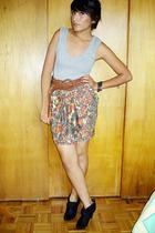 Zara shirt - Zara belt - Lady V skirt - vintage boots